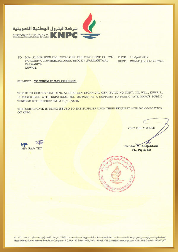Approvals – Al-Shaheen Technical Company