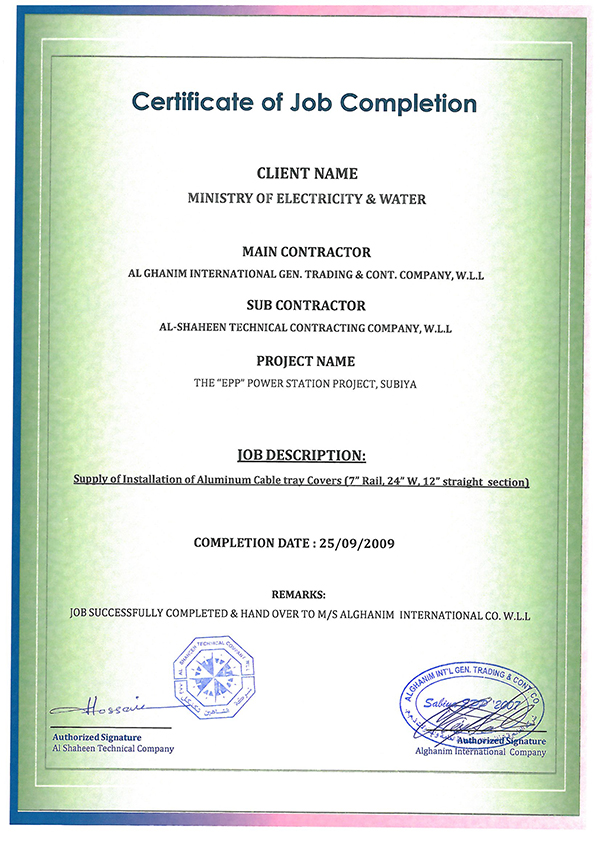 Job Completion Certification – Al-Shaheen Technical Company